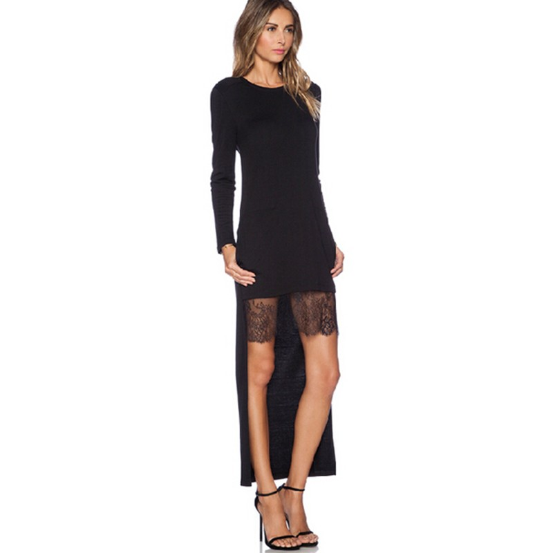 Lace Patchwork Asymmetrical Dress desigual  Fashion Women O-neck Long Sleeve Elegant Black Dress vestido  (2)