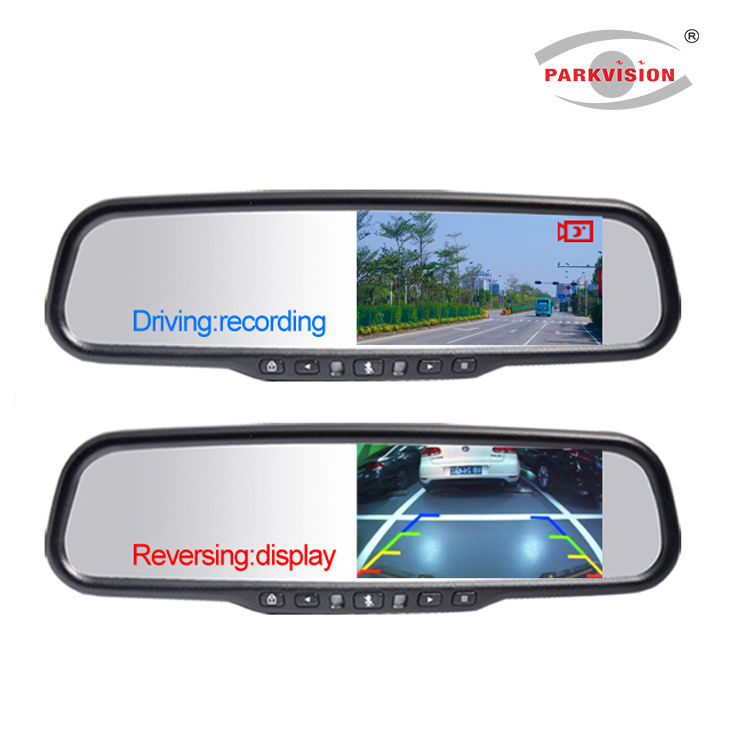 4.3 Inch Super HD 1296P DVR Rearview Mirror Monitor Car Black Box Dual Lens Video Recorder w/ Rear View Backup Camera