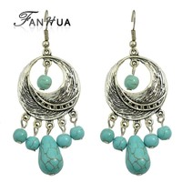 Indian Style Silver Plated Imitation Turquoise Chandelier Earrings