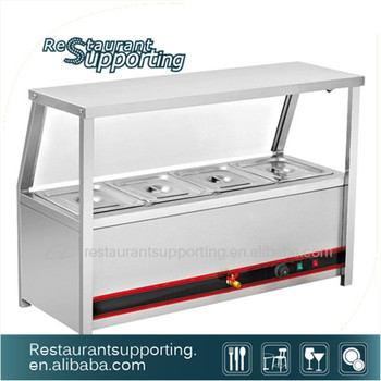 Kitchen Equipment Buffet Stainless Steel Table Top Electric Hot Glass Food  Showcase Bain Marie Warmer Cover