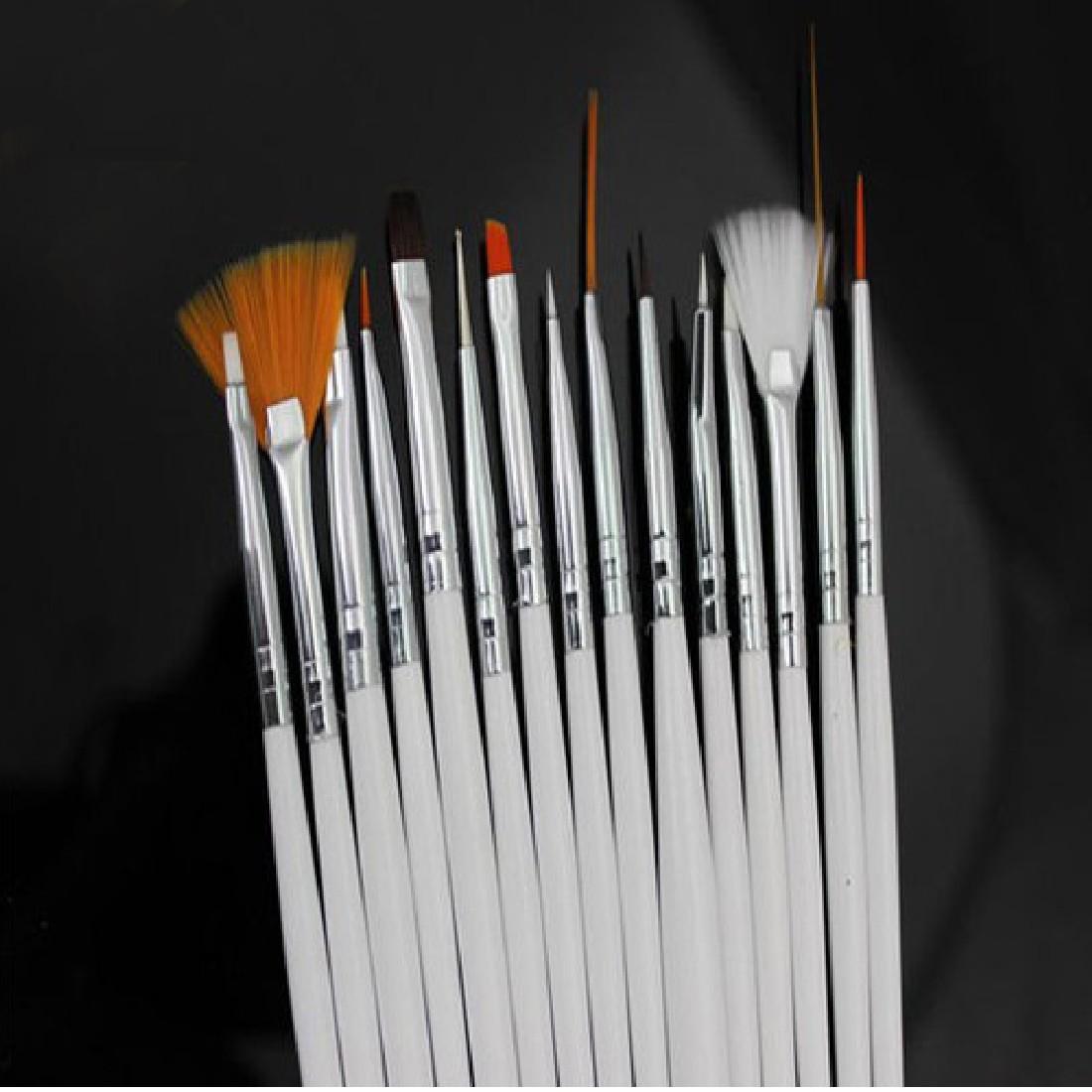 2016 high quality 15Pcs Nail Art Design Acrylic Dot Painting Tool Pen Polish Brush Set hot