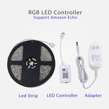 Smart Remote Control Wifi LED Strip Enabled with Echo Alexa Wifi Controller and Power supply Plug