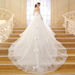 Bridal Women's Appliques Lace A-line Long Train Wedding Dresses