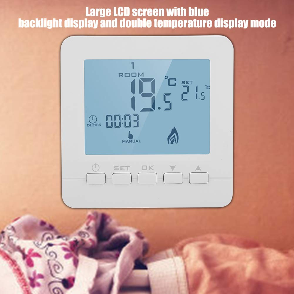 High Accuracy 7 Days Programmable Blue Backlight Boiler Thermostat With 0.5C Swing Temperature