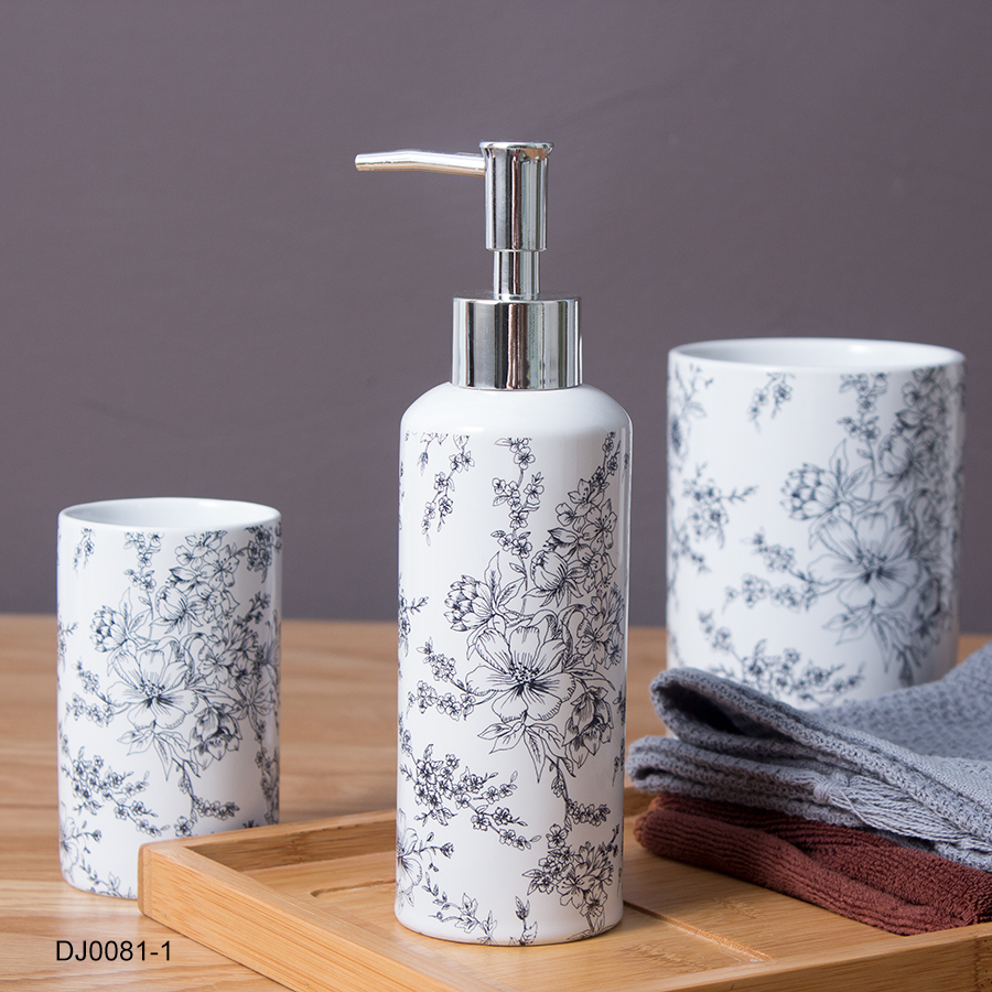 Wholesale promotional modern design porcelain bathroom accessory set customized printed white ceramic bathroom sets for toilet