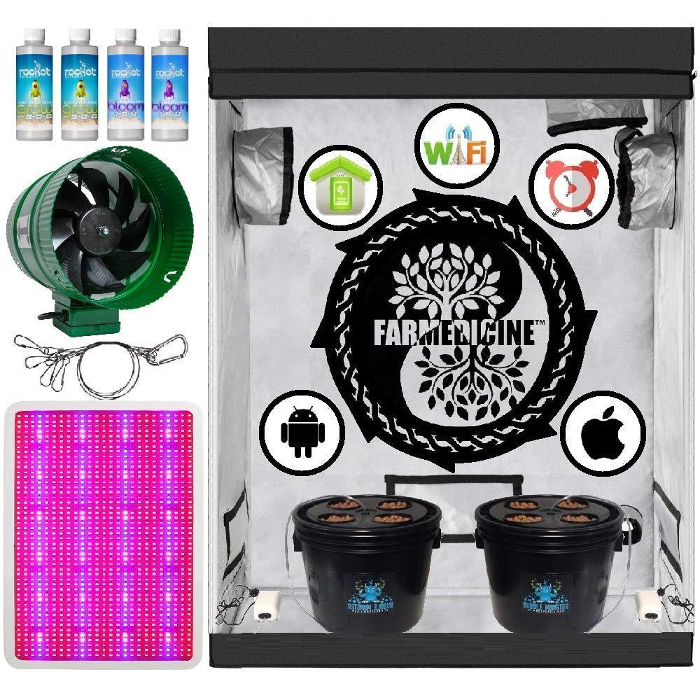"Farmedicine Wireless 24"" × 48"" × 70"" Ventilated 2400 Watt 8 Site Smart Hydroponic Grow Kit System"