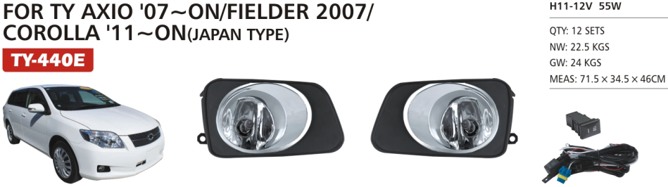TY-440E FOR AXIO 07~ON/FIELDER 2007/COROLLA 11~ON CAR FOG LAMP