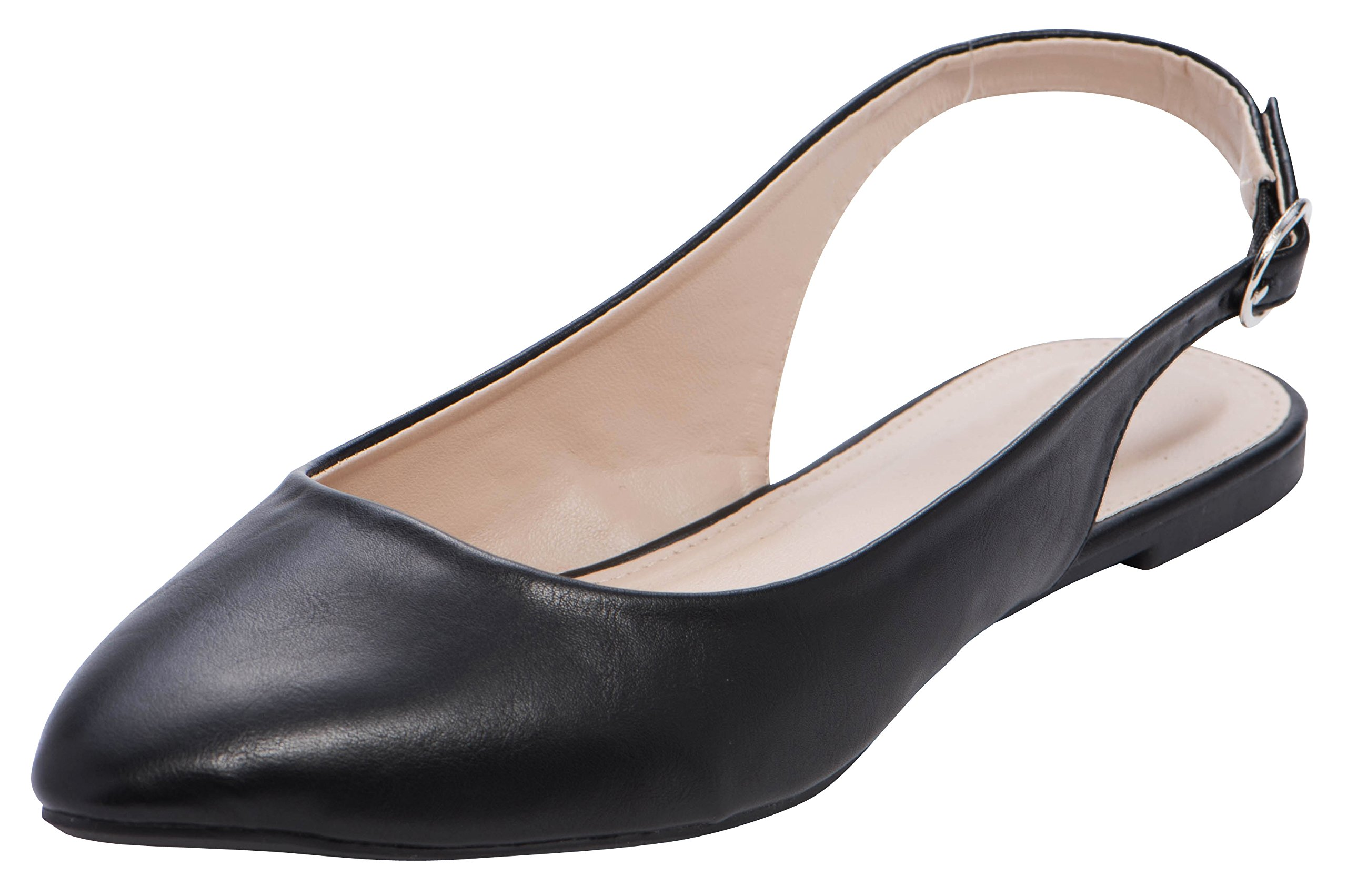 8d8d31b61ec Cambridge Select Women s Closed Pointed Toe Buckled Slingback Flat