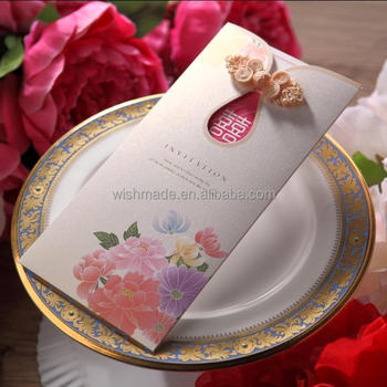 Cw2053 3d Handmade Decoration Wedding Invitation Card Greeting