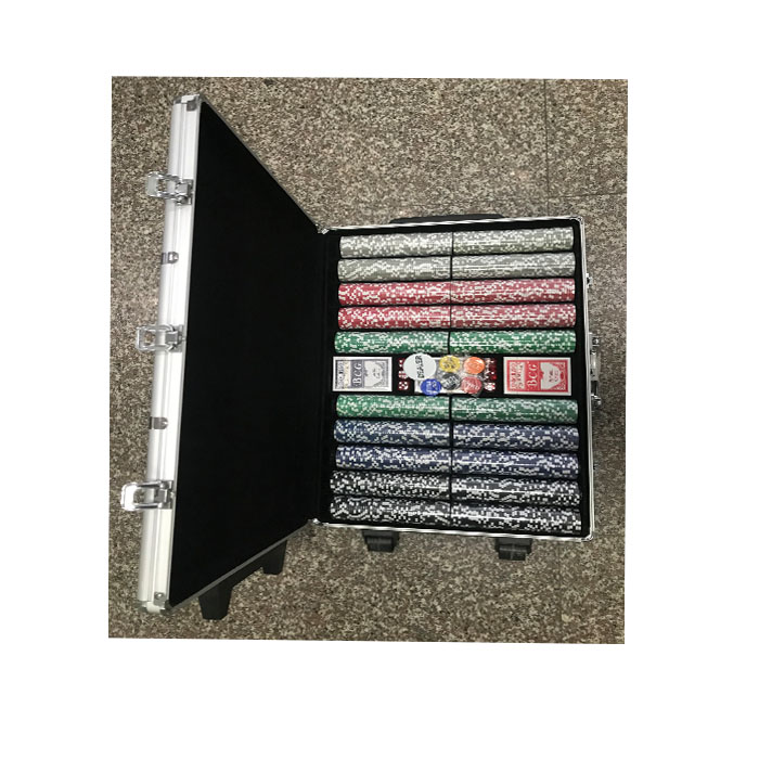 1000 stks poker chip set in aluminium case