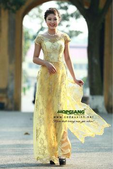 Yellow Tradition Wedding Ao Dai For Bridal Viet Nam 2017