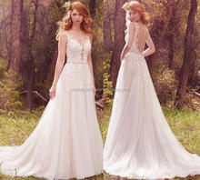 Elegant Appliques See Through Vestidos De Noiva Western Patterns A line Women Wedding Dress