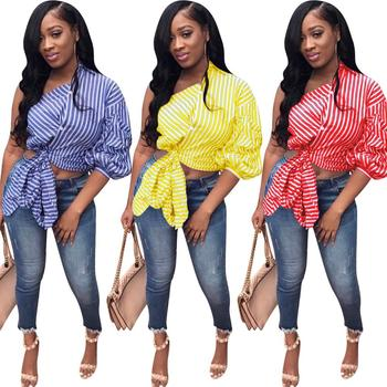 Sexy One Shoulder Collar Long Lantern Sleeve Patchwork Print Striped asymmetrical Blouses & Shirts Women
