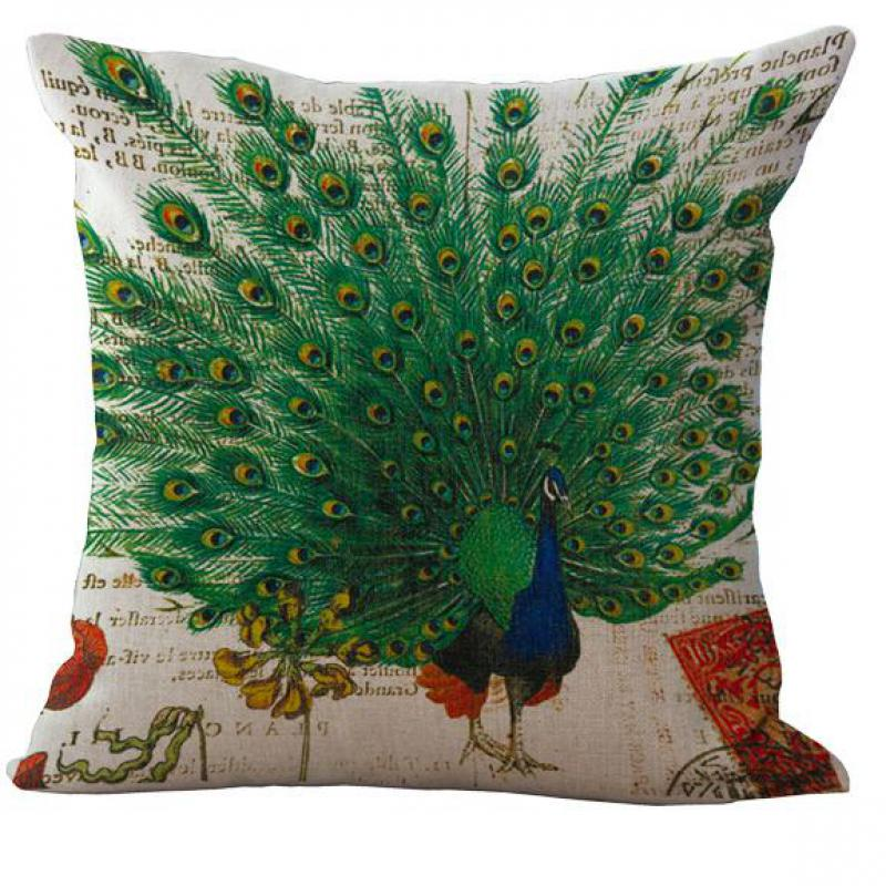 2016 Seat Cushion Decorative <font><b>Elegant</b></font> Green Peacock Cotton <font><b>Home</b></font> <font><b>Decor</b></font> Sofa Chair Throw Pillows Decorate Pillow Cushions 45*45cm