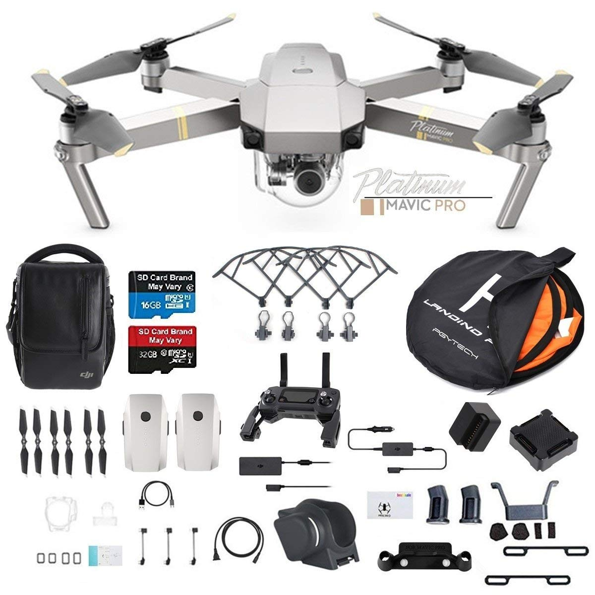 DJI Mavic Pro Platinum Fly More Combo Collapsible Quadcopter Drone (Latest Version) Bundle with Additional Memory Card, 2 Extra Battery, Landing Kit and More