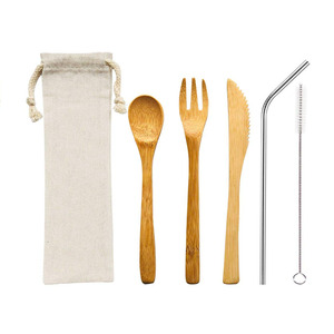 Wholesale Fast Delivery 304 Stainless Steel Straw and Naturel Bamboo Cutlery Travel Set