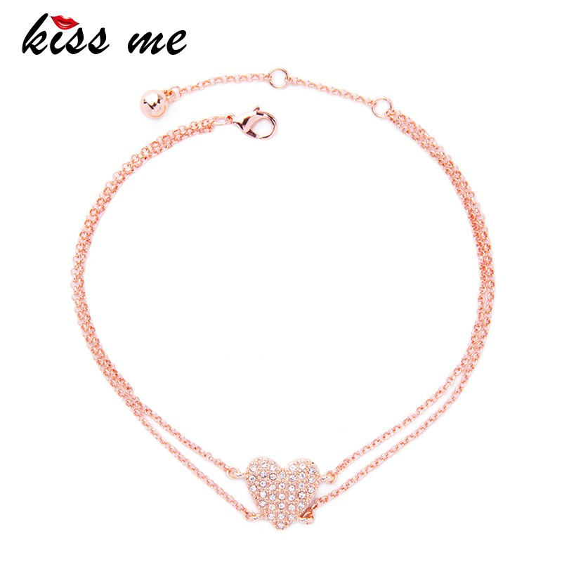 Best Sell Jewelry Pink Gold Plated Heart Pendant long Chain Necklace