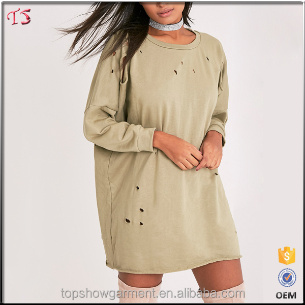 China factory distressed hoodie new design sweatshirt dress for women