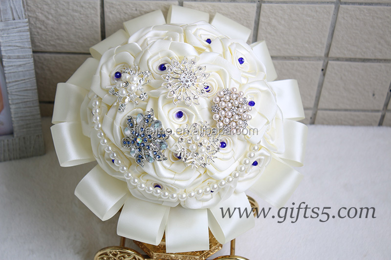 Exquisite Wedding Bouquet with blue beads