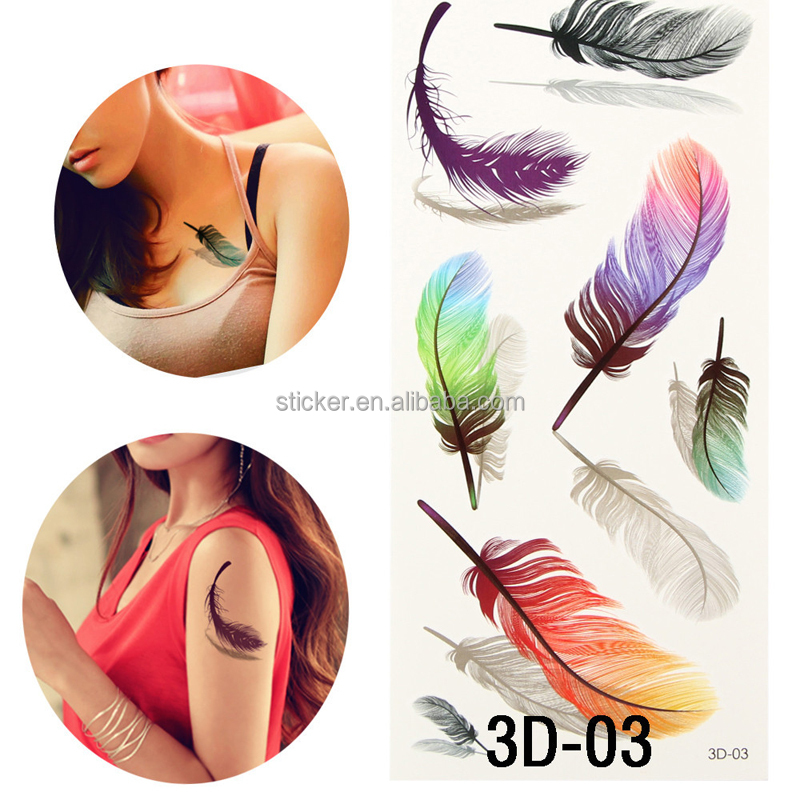 3D Colorful Body Art Tattoo Sleeve DIY Tattoo Stickers Glitter Waterproof Temporary Tattoos