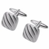 Wholesale Etched Lines Brush Silver Cufflinks Factory China