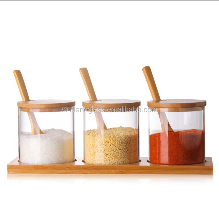 Food Spice Bamboo Glass Jar With Bamboo Lid and Spoon фото