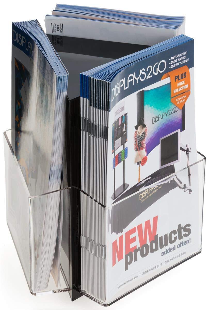 "Displays2go Spinning Tabletop Brochure Racks for 5.5"" Wide Literature, 3 Pocket Design – Clear (RCD3P5508)"