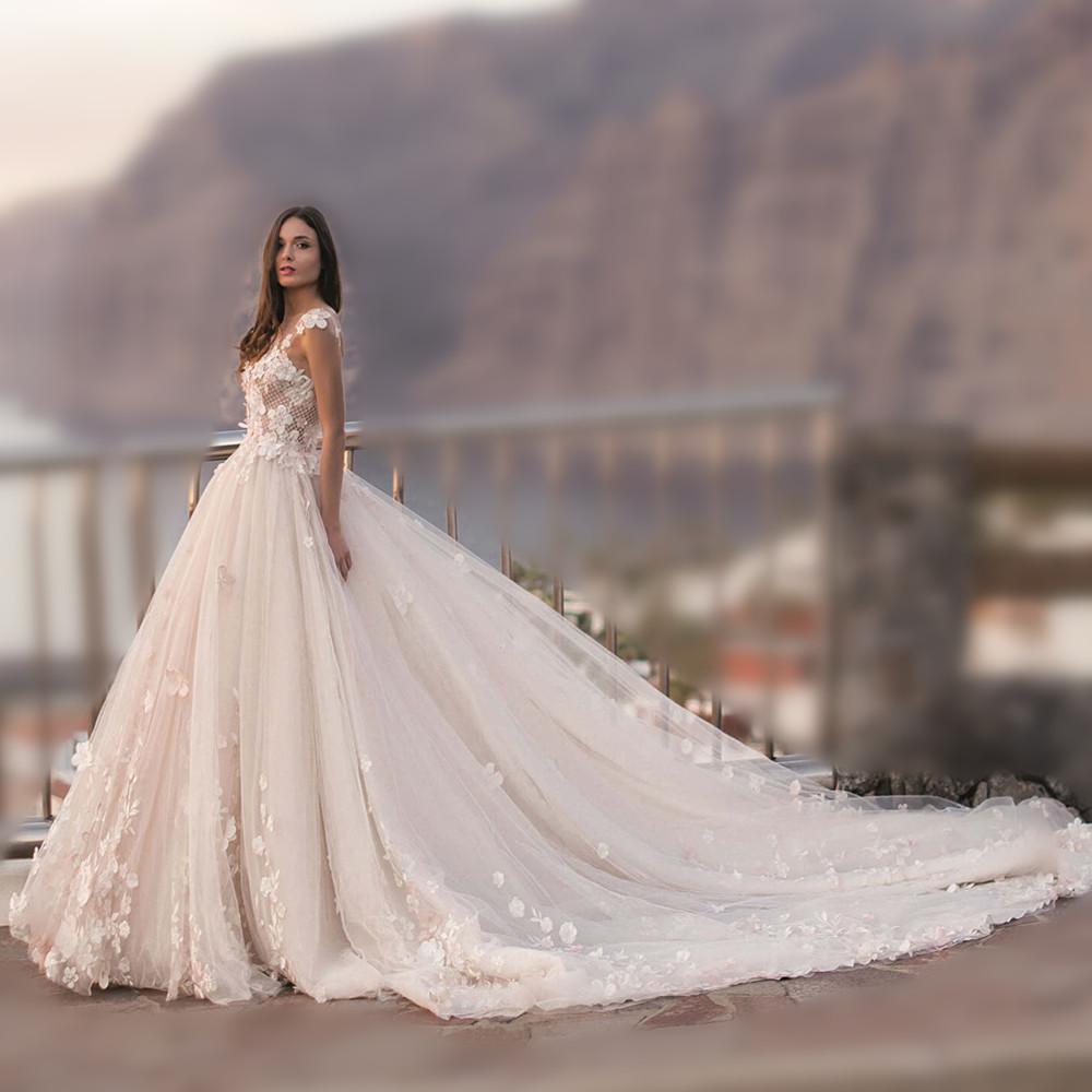 3d Flower Lace Wedding Dress V Neck With V Shaped Back Buy Wedding Dress V Necklace Wedding Dress With V Shaped Back3d Flower Wedding Dress
