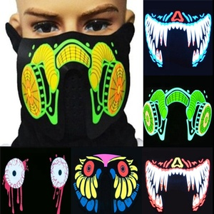 Halloween Party Costume Cosplay Props LED Rave Face Mask Flashing Light Up EL Mask
