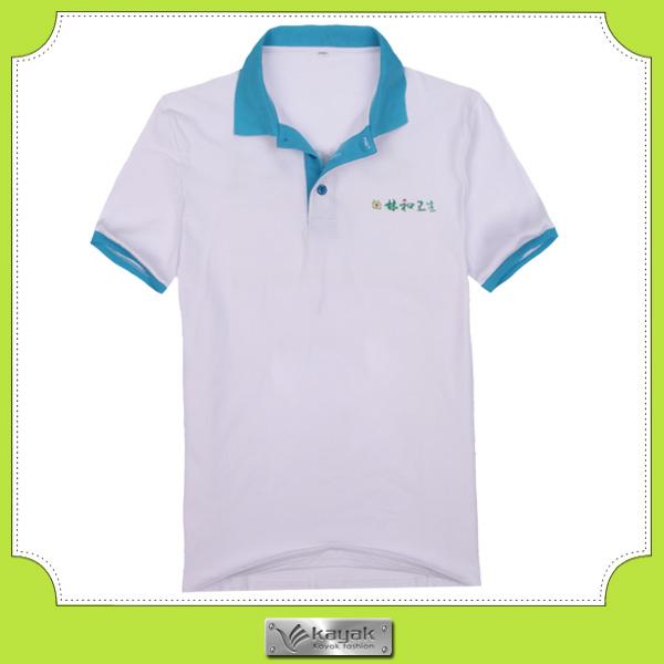 Custom Men S Embroidery Logo Polo Shirt Blue Collar Design Buy