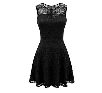 2019022024 Women's A-Line Pleated Sleeveless Little Cocktail Party Dress with Floral Lace