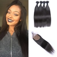Hot Selling 4*4inch Virgin Silk Base Closure With Baby Hair,Straight Human Hair Bundles With Closure