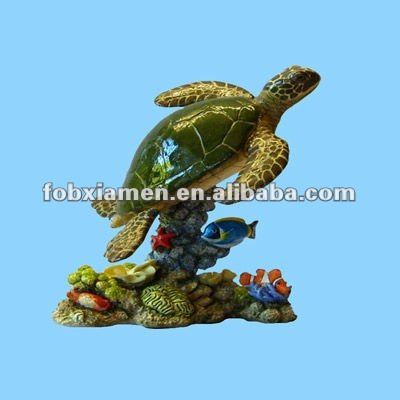 Aquarium decor polyresin green turtle figurine