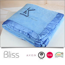 High quality wholesale 100%polyester solid embroidery logo soft coral fleece bedding throw blanket
