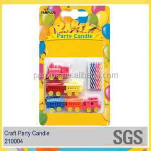 Cute Kids Birthday Cake Candles With Train Shaped Holders