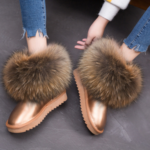 Best quality waterproof slippery raccoon fur boot fox fur snow knee women fur boot