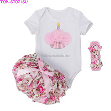 Baby Girls Boutique Dance Outfits Wholesale Kids Romper And Bloomers And Headband Birthday 3 Pieces Clothing Set