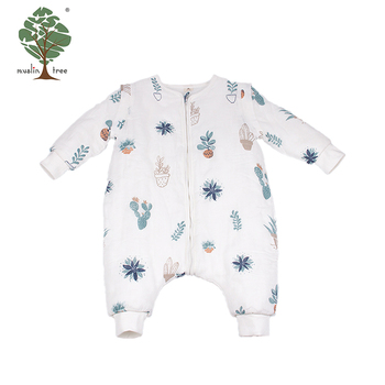 Muslin tree wholesale 100% cotton cold weather baby sleeping bag with sleeves