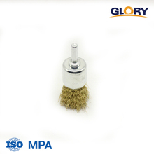 Crimped brass-coated steel wire end brush for rust cleaning