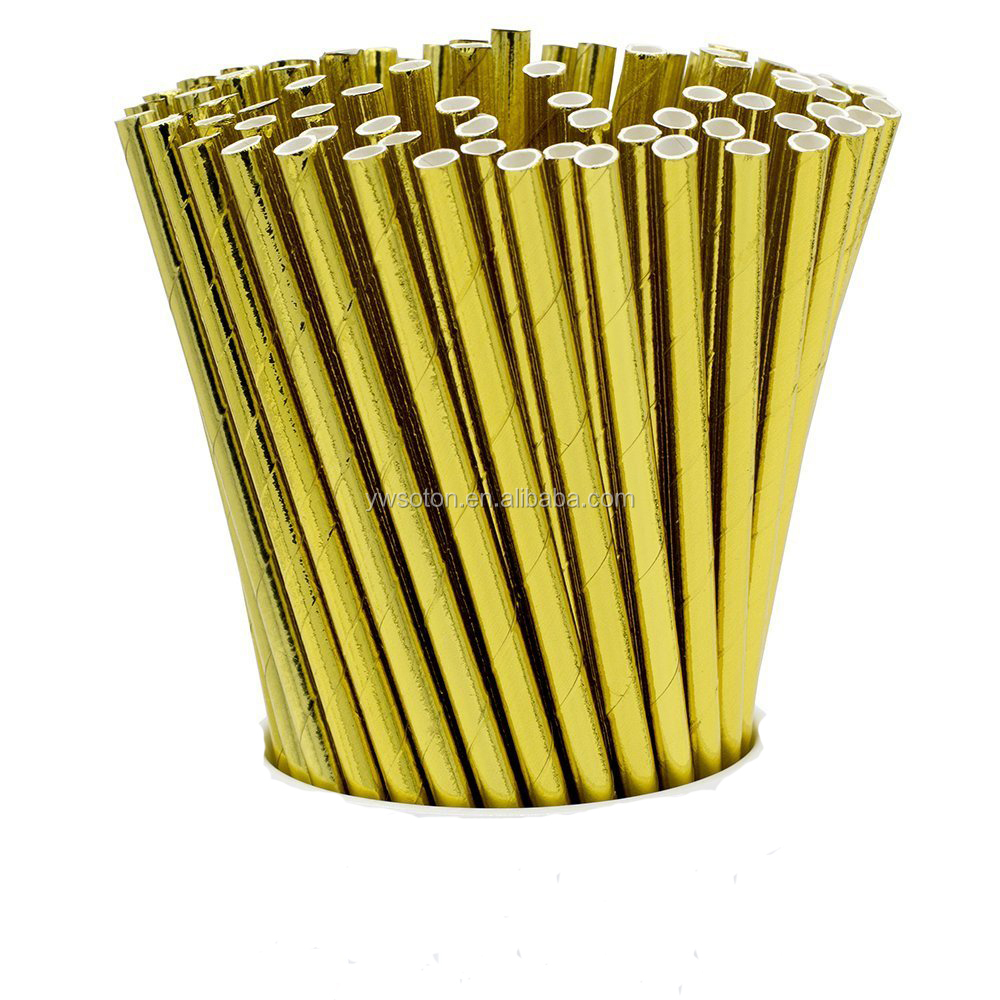 Biodegradable Gold / Silver Foil Paper Straws Party Paper Drinking Straw