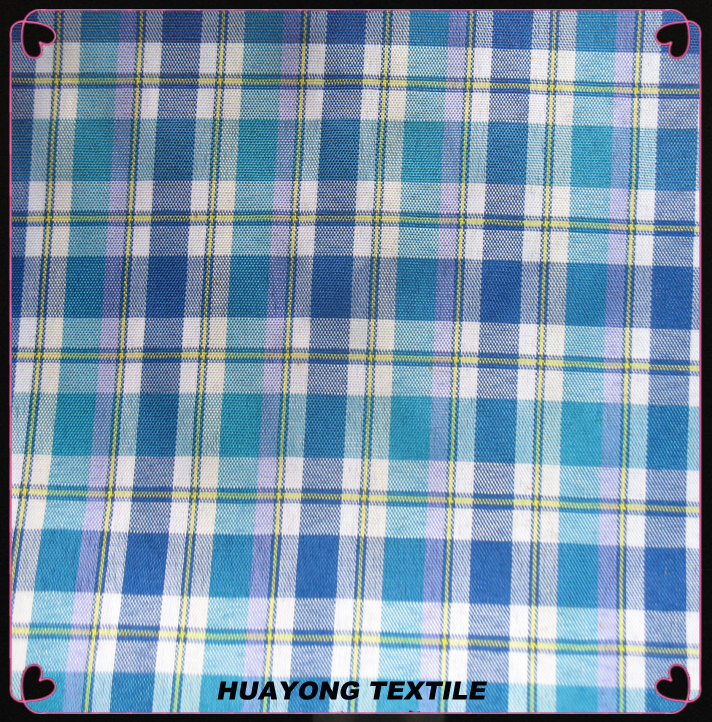 wholesal100% polyester plaid fabric/polyester taffeta mini checked fabric/lining fabric