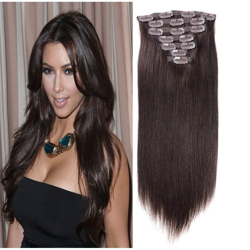 "Chris 22"" 100 Real Remy Human Hair Extensions Clip in Double Weft Dark Brown Natural Straight Hair Extensions Clip in Human Hair Full Head Thicker #2 7Pieces 120g/4.2OZ"