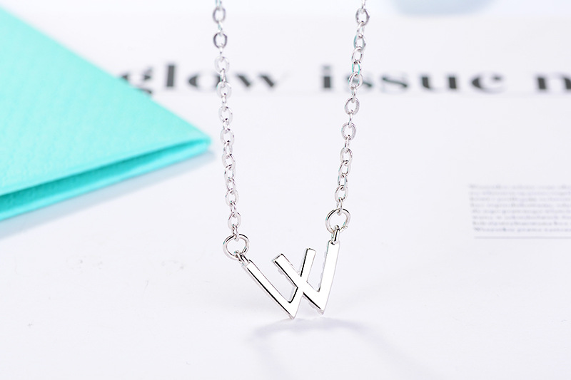 Wholesale 925 Sliver Jewelry W Shape Pendant Necklace For Women