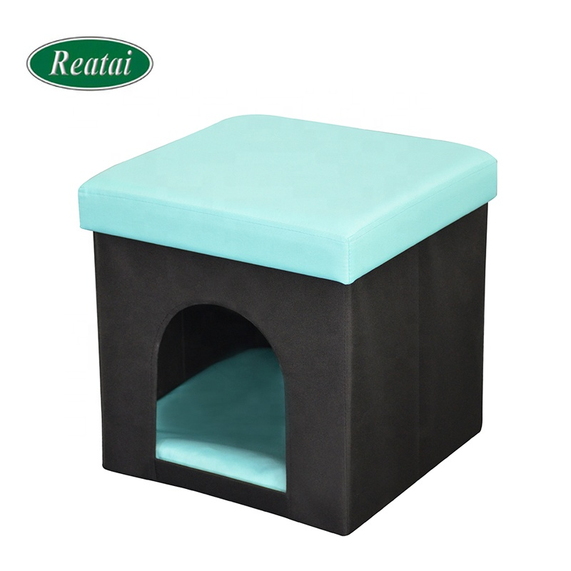 Reatai cheap factory price foldable velvet pet house dog stool ottoman