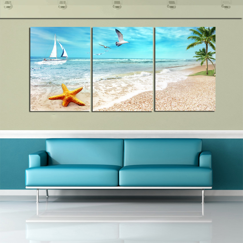 Hot 3 Panel Large Beach Canvas Seascapes Palm Tree Paintings 3 Piece Wall Art Coconut Home Decor Sea Pictureunique gift