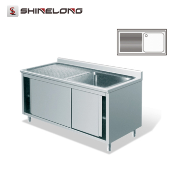 S270 Stainless Steel Single Sink Bench With Cabinet
