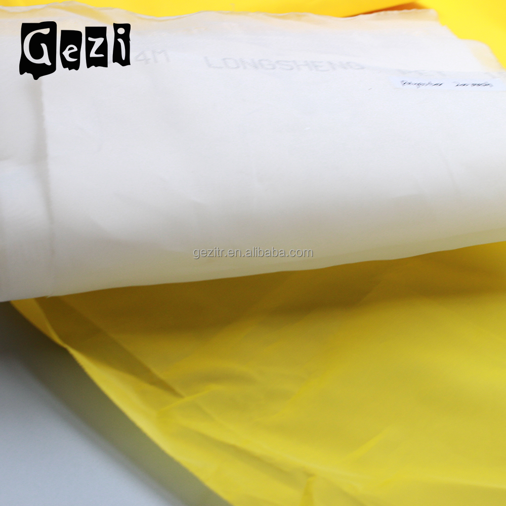 Gezi ( factory offer) 7T- 165T 18mesh-420mesh white or yellow plain weave screen printing raw material