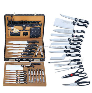 German 24pcs stainelss steel kitchen knives set with cheese knife in leather suitcase