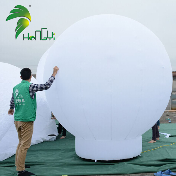 Advertising Design White Color Ground Drop Ball Inflatable With Banner Buttons