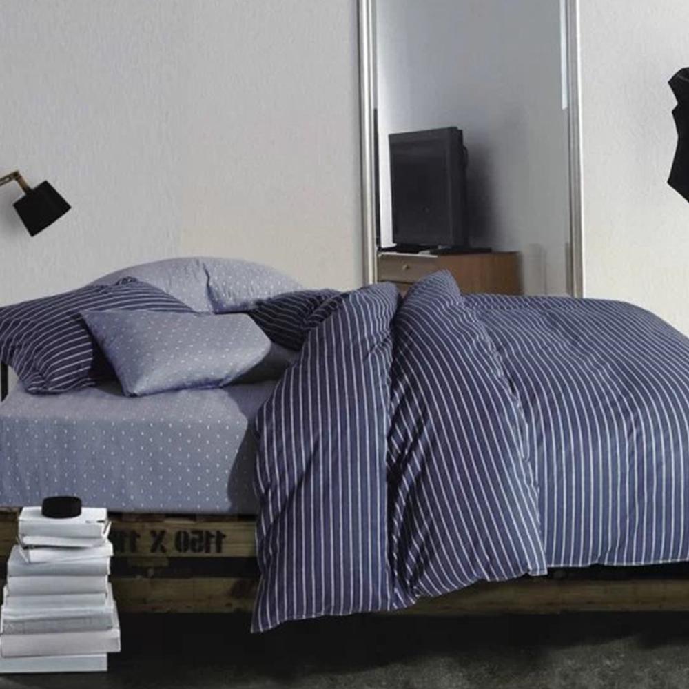 Bon Modern Cotton Stripe Hotel Flat Sheet Bed Sheets Set Turkish Quilt